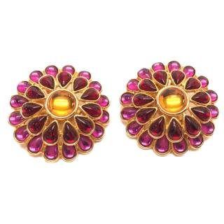 Yves Saint Laurent colored stone earrings for both ears