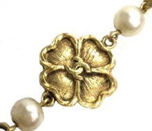 Chanel Fake Pearl Four Leaf Clover Long Necklace