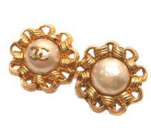Chanel Cocomark Fake Pearl Earrings