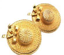 Chanel hat motif gold earrings