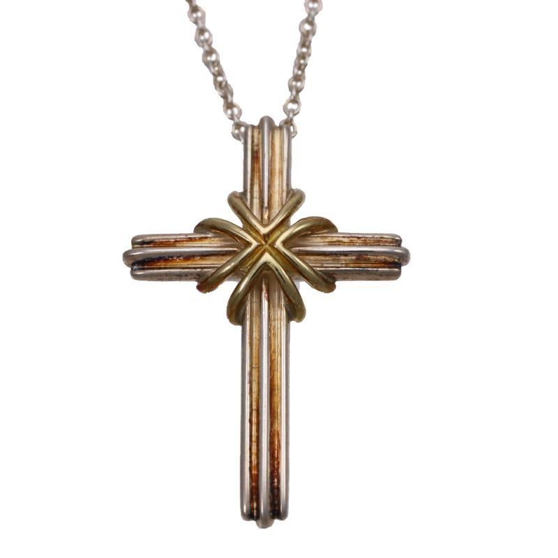 Tiffany SV925, K18 cross pendant