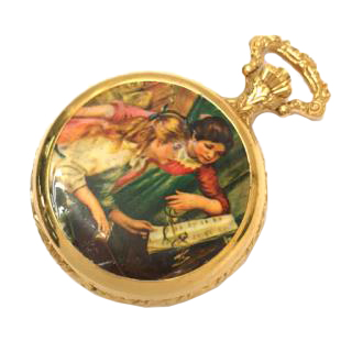 Luge pocket watch with music box, white dial, manual winding