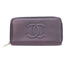 Chanel Caviar Skin Round Zipper Long Wallet