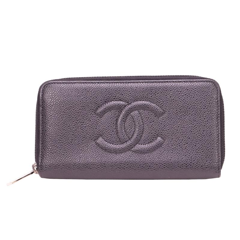 Chanel Caviar Skin Round Zipper Long Wallet