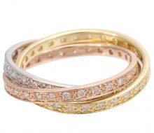 Triple ring with K18/PT900 diamond