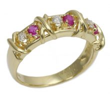 Design ring K18 ruby ​​with diamond