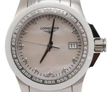 Longines Conquest Men's Bezel Diamond Shell Dial Date Quartz