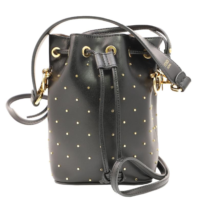 Fendi Mon Tresor 2WAY Drawstring Leather Studded Shoulder