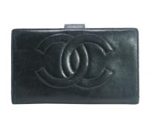 Chanel leather two-fold wallet