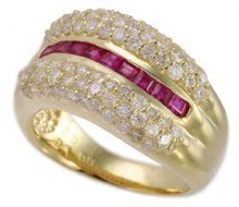 Ruby ring K18 with diamond