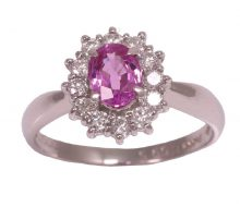 Design ring with pink sapphire diamond