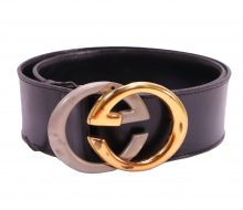 Gucci G metal fittings leather belt
