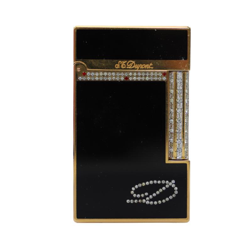 デュポン ライン2 黒ラッカー石付ライター