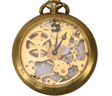 アロマ 懐中時計 両面スケルトン